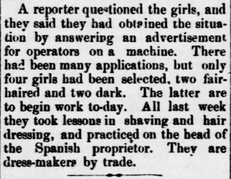 Four Girl Barbers. Part 3. The Sedalia Weekly Bazoo of Sedalia, Missouri, on October 23, 1883