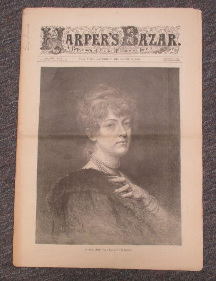 Dec 19, 1885 HARPER'S BAZAR (BAZAAR) with Pattern Supplement, Fashion etc, currently for sale on ebay