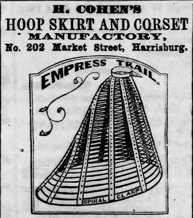 Hoop Skirt and Corset Ad. Part 1. Harrisburg Telegraph, Harrisburg, Pennsylvania on May 8, 1869