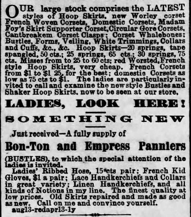 Hoop Skirt and Corset Ad. Part 2. Harrisburg Telegraph, Harrisburg, Pennsylvania on May 8, 1869