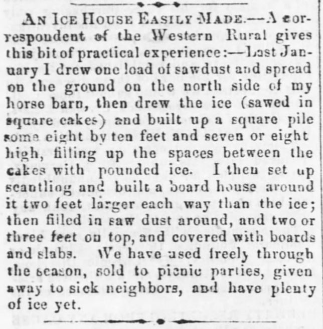Ice House. Cut ice in winter for summer use. The Ebensburg Alleghenian, Ebensburg, pennsylvania, January 21, 1869