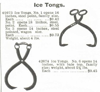 Ice Tongs. Montgomery Ward Spring and Summer 1895