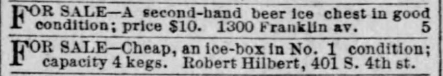 Ice chests for beer kegs. St. Louis Post-Dispatch of St. Louis, Missouri, on April 1, 1888