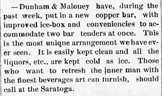 Icebox at saloon. Rocky Mountain Husbandman of Diamond City, Montana on July 20, 1882