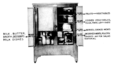 Image of Icebox with food properly stored. Image: Public Domain.