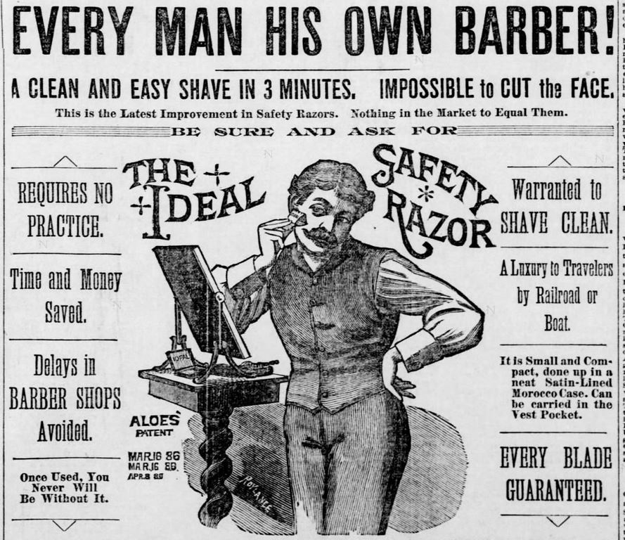 Ideal Brand Safety Razor in the St. Louis Post-Dispatch of St. Louis, Missouri, on September 15, 1886
