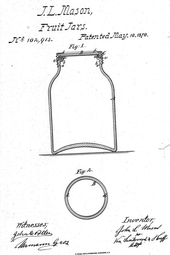 J.L. Mason Fruit Jars. 1870 Patent for Fruit Jar improvements, May, 1870.