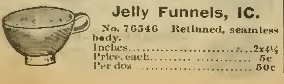Jelly Funnels. Sears 1898