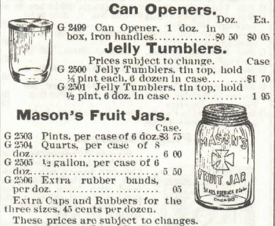 Jelly Tumblers. Mason Fruit Jars. 1897 Sears Catalog no 104