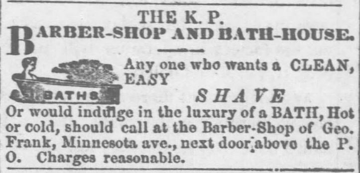 KP Barber and Bath House. Wyandotte Gazette of Kansas City, Kansas on July 13, 1871