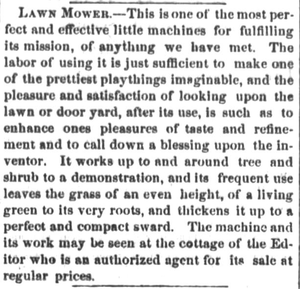 Lawn Mower promoted. Ashtabula Weekly Telegraph of Ashtabula, Ohio, on August 14, 1869