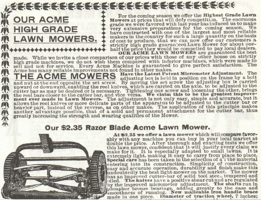 Lawn Mower. Part 1. Sears 1897