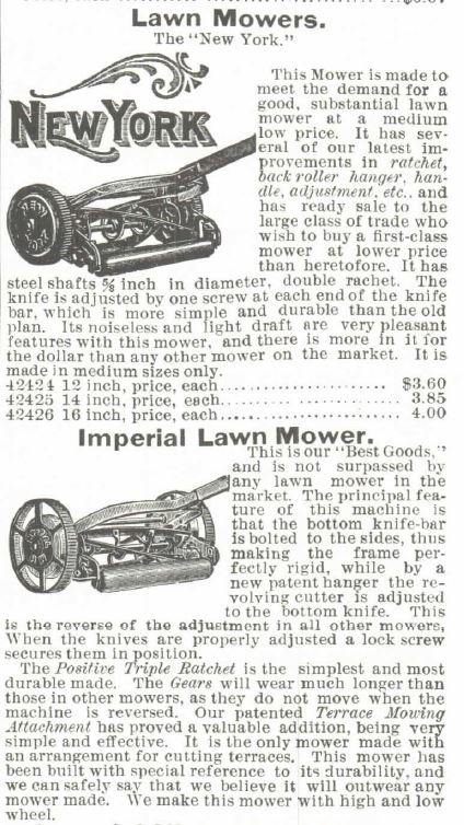 Lawn Mowers Part 1. Montgomery Ward Spring and Summer 1895