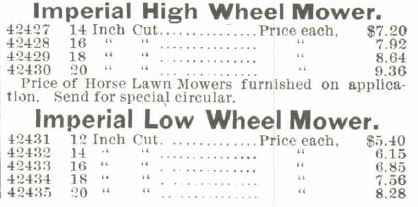 Lawn Mowers Part 2. Montgomery Ward Spring and Summer 1895