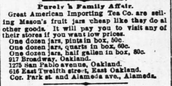 Mason Fruit Jars for sale. Oakland Tribune. Oakland CA. 26 July 1894