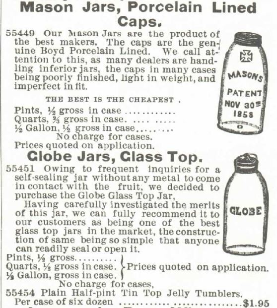 Mason Jars. Globe Jars. Montgomery Ward 1895
