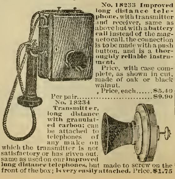 No 18233 Sears telephone and receiver. Sears 1898