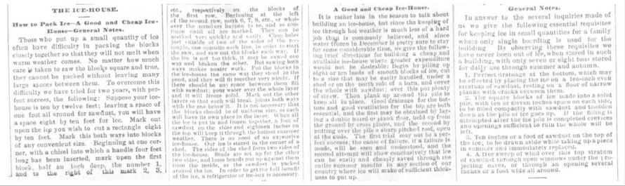 How to Pack Ice. Parts 1-4. The Boston Weekly Globe on February 2, 1881.