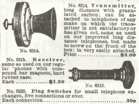 Phone transmitter and switches. Sears 1897