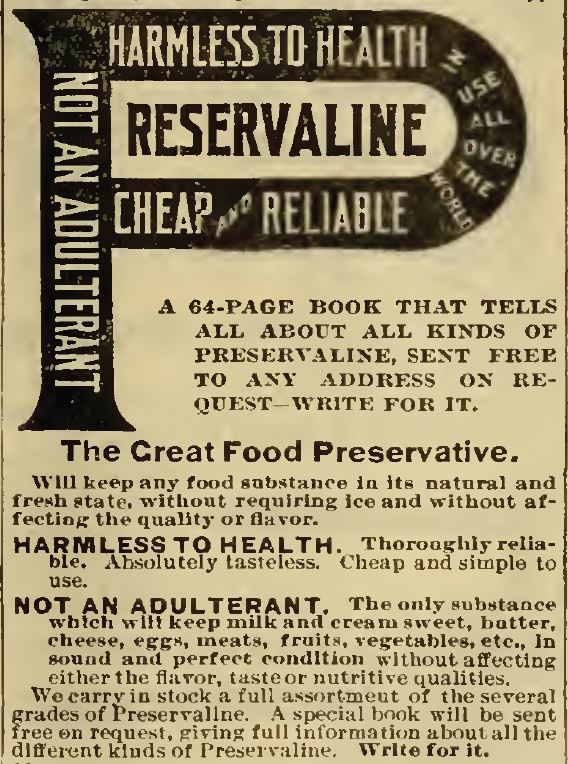 Preservaline. preserves foods. Sears 1898