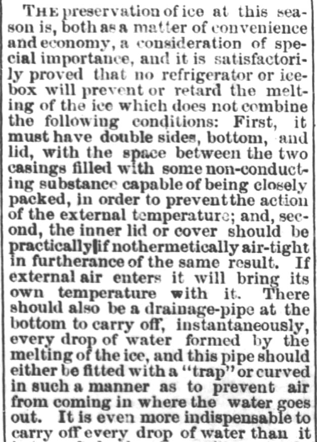 Preservation of Ice. Part 1. Steuben Republican of Angola, Indiana on July 26, 1871