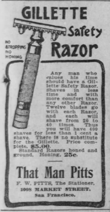 Razor. Mens Gilette Safety Razor advertisement. The San Francisco Call. 24 January 1906. page 7