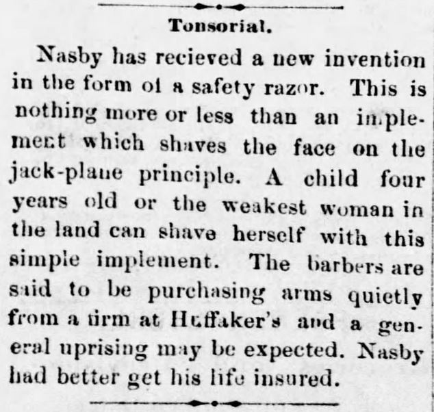 Safety Razor. Victorian Humor. Reno Gazette-Journal of Reno, Nevada, on April 26, 1881