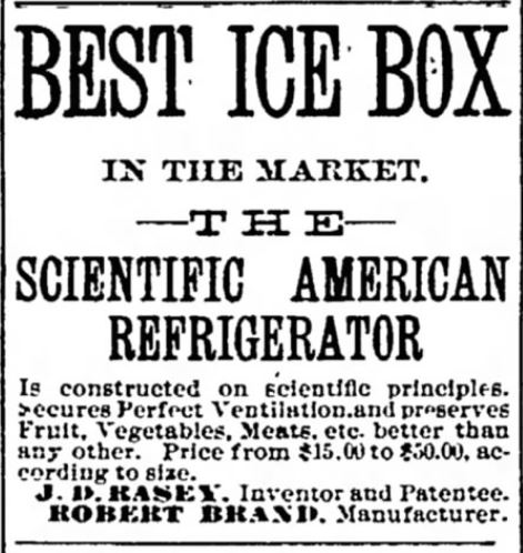 Scientific American Refrigerator. Icebox. Oshkosh Daily Northwestern of Oshkosh, Wisconsin on August 16, 1887