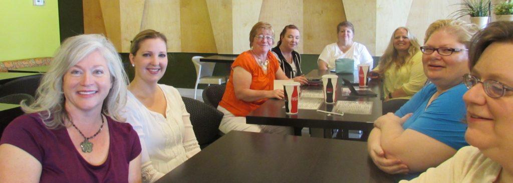 Most of our group. From left to right: Diane Darcy, Janelle Daniels, Heather Horrocks, Jennifer Cooper, Bella Bowen, Kelli Ann Morgan, Kirsten Osbourne, and Amelia Adams.
