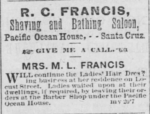 Shaving. Bathing Salon. Bathhouse. Santa Cruz Weekly Sentinel. Santa Cruz CA. 30 mar 1872