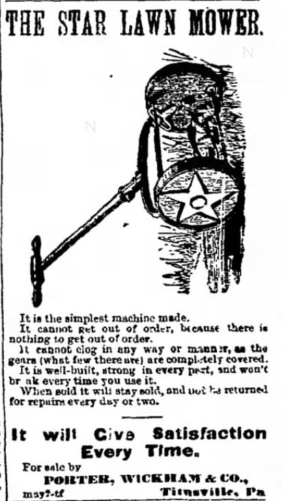 Star Mower. The Titusville Herald of Titusville, Pennsylvania on May 3, 1871
