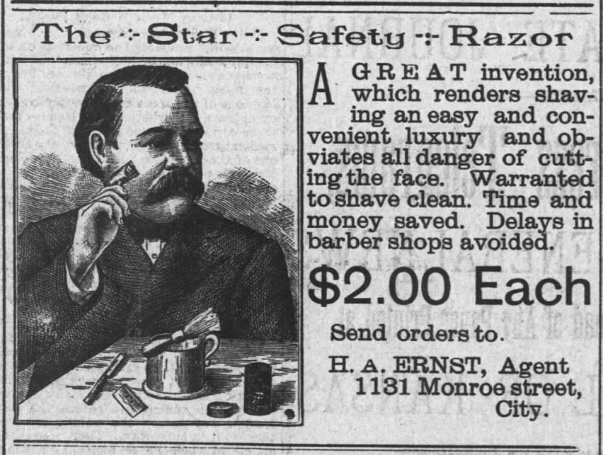 Star Safety Razor. $2 and saves delays in barber shops. The Topeka State Journal of Topeka, Kansas, on September 20, 1888