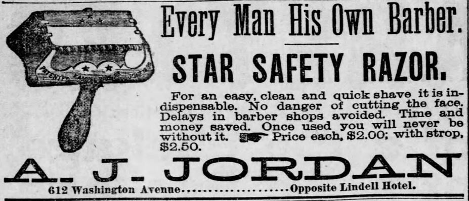 Star Safety Razor. Every Man His Own Barber. St. Louis Post-Dispatch of St. Louis, Missouri on June 5, 1886