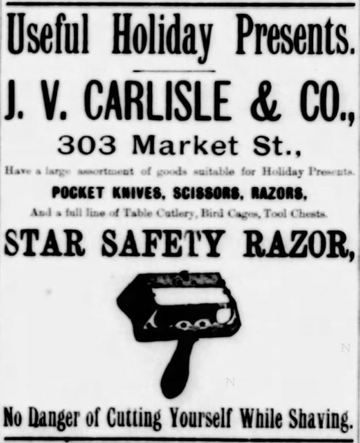 Star Safety Razor. No Danger of Cutting Yourself While Shaving. The News Journal of Wilmington, Delaware on December 23, 1885
