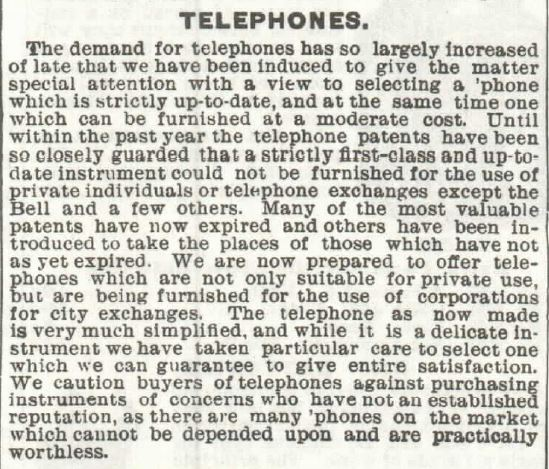 Telephones header Sears 1897