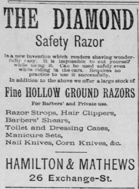 The Diamond Safety Razor in the Democrat and Chronicle of Rochester, New York, on October 8, 1886
