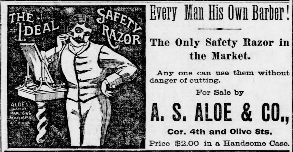 The Ideal claims to be the only safety razor on the market. St. Louis Post-Dispatch of St. Louis, Missouri on October 6, 1886