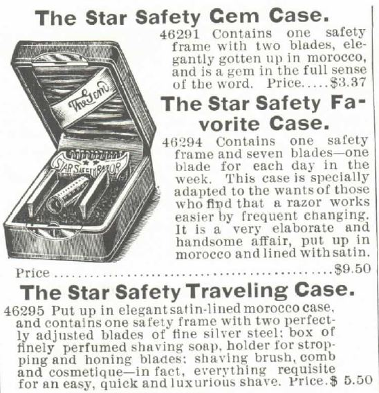 The Star Safety Razor Cases. 1895 Montogomery Ward Catalogue Spring and Summer