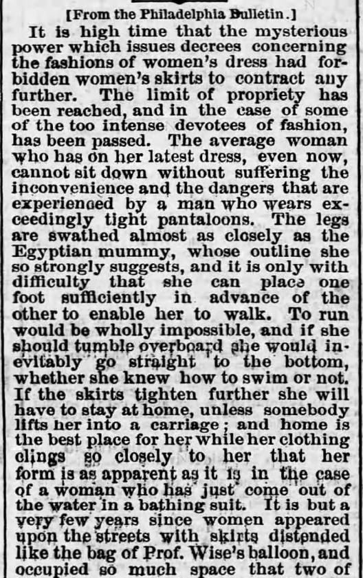 Width of womens skirts 1. Harrisburg Telegraph. Harrisburg PA. 2 Jun 1875