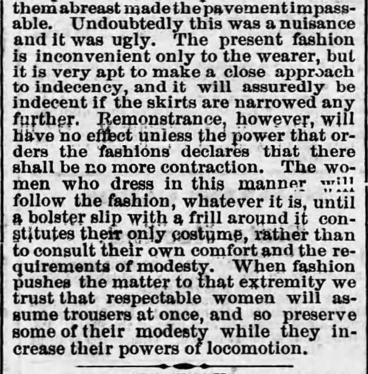 Width of womens skirts 2. Harrisburg Telegraph. Harrisburg PA. 2 Jun 1875
