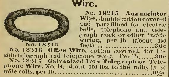 Wire for telephones Sears 1898