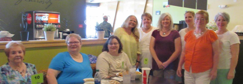 8 Utah Authors (The Pioneer Hearts Utah Contingent) + 1 Texan (Kirsten). From left to right: Charlene Raddon, Kirsten Osbourne, Amelia Adams, Kelli Ann Morgan, Bella Bowen, Diane Darcy, Janelle Daniels, Heather Horrocks, and Kristin Holt.