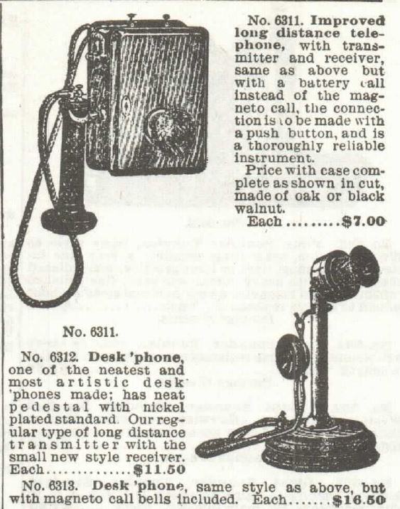 no 6311 for wall and desk. phones by Sears 1897 p 480