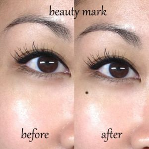 Tattooed Beauty Mark (before and after). Shared on Pinterest from permanentmakeupsocal.com