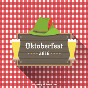 Kristin Holt | Victorian America Celebrates Oktoberfest. A 2016 Oktoberfest red-gingham and green hat (and beer glass) decorative image. Image copyright Freepik.com (used with paid subscription)