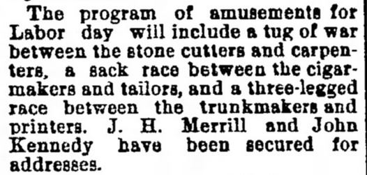Amusements on Labor Day. Oshkosh Daily Northwestern of Oshkosh, Wisconsin on August 22, 1890.