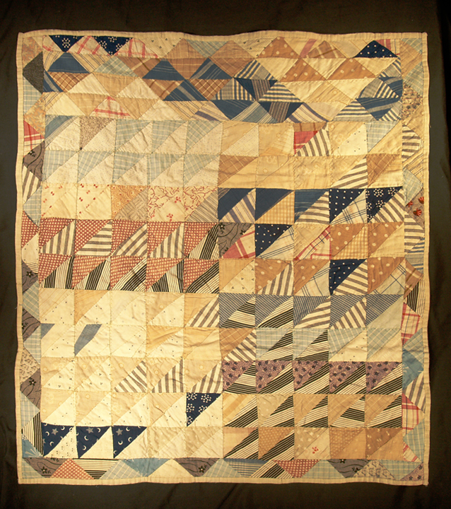 Antique Geese in Flight, triangle-border bassinette-sized quilt, circa 1880. Made in New England. For sale by Rocky Mountain Quilts.