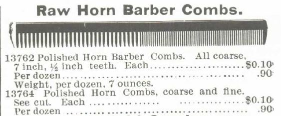 Barber Combs. 1895 Montgomery Ward Spring and Summer