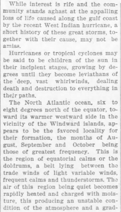 Cause of Hurricanes 1. The Weekly Star and Kansan of Independence, Kansas, on September 21, 1900