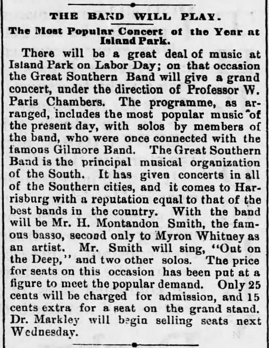 Concert on Memorial Day. Harrisburg Telegraph of Harrisburg, Pennsylvania on August 23, 1890.